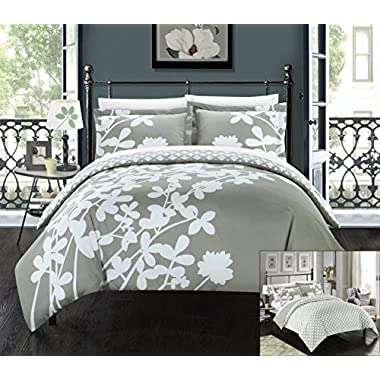 Perfect Home 3 Piece Sweetpea Reversible large scale floral design printed with diamond pattern reverse King Duvet Cover Set Grey
