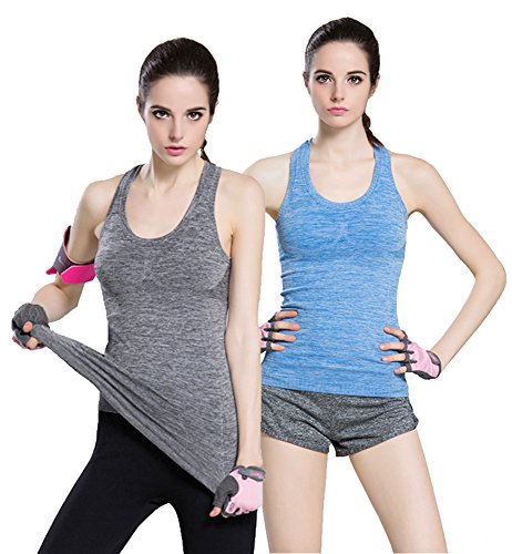 Women's Sports Yoga Fitness Racerback Sleeveless Tank Top Running Shirt Vest 2-Pack Black&Blue Large by FITTIN