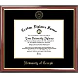 university of georgia bulldogs embossed seal mahogany gold trim diploma frame