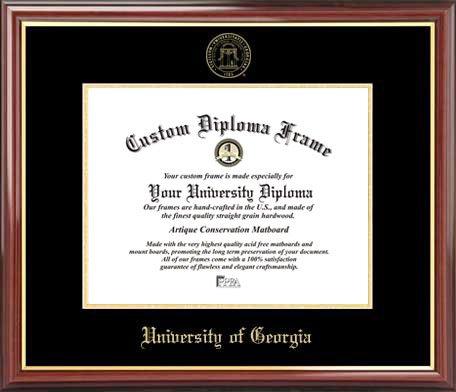 Diploma Frame Mahogany Gold Trim Embossed Seal Laminated Visuals University of Georgia Bulldogs