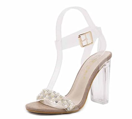 bd7980c7041 Women Crystal Heel Pearl Sandals Fashion New Transparent High Heel Sweet  Beautiful Ankle Strap Shoes (
