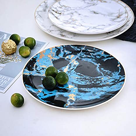 Coffeezone Modern Gold Inlay Marble Design Porcelain Dinner Plates Set of 4 Blue 10 inches