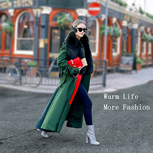 Winter Ear Warmers Knit Outdoor Ear Warmers Unisex Fleece Foldable Earmuffs (black)