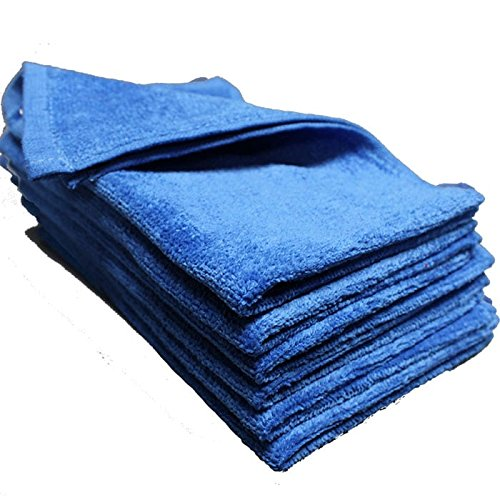 (IZO Home Goods Premium 100% Cotton White Fingertip Towels, Terry-Velour Wash Cloth Set of 6, 11in.x18in. (Blue))