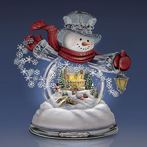 Thomas Kinkade Snowglobe Snowman with Lighted Scene Plays 8 Holiday Carols by The Bradford Exchange by Bradford Exchange (Image #5)