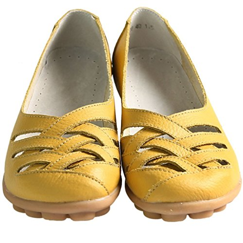 Shoes Ladies Sandals Cut FAYALE Flat Yellow Moccasin Out Loafers Casual Womens pq7Sn70