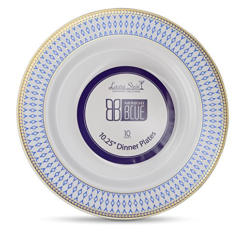 Laura Stein Designer Tableware Premium Heavyweight 10'' Inch White Plate And Blue & Gold Border Plastic Party & Wedding Plates Midnight Blue Series Disposable Dishes Pack of 40 Plates