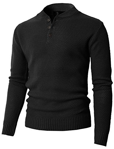 H2H Mens Knitted Slim Fit Pullover Sweater Shawl Collar With One Button Point Black US M/Asia L (KMOSWL0202)