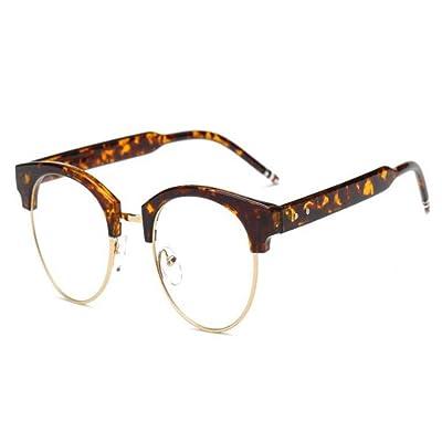 Meijunter Lumière bleue Filtre Ordinateur Des lunettes Semi-sans monture Vintage Lentille claire Lecture Lunettes Hommes/Femmes Anti-fatigue visuelle
