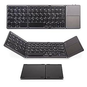 Foldable Bluetooth keyboard with Touch Pad, IKOS Ultra Slim Tri-folding Portable Wireless Keyboard for iPhone X/ 8/ 7/ 6S/ 6 Plus Series iPad Mini iPod Pro Samsung Smartphone Tablet , BT Keyboard