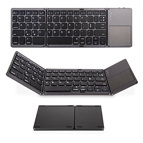 Foldable Bluetooth keyboard with Touch Pad, IKOS Ultra Slim Tri-folding Portable Wireless Keyboard for iPhone X/ 8/ 7/ 6S/ 6 Plus Series iPad Mini iPod Pro Samsung Smartphone Tablet , BT Keyboard