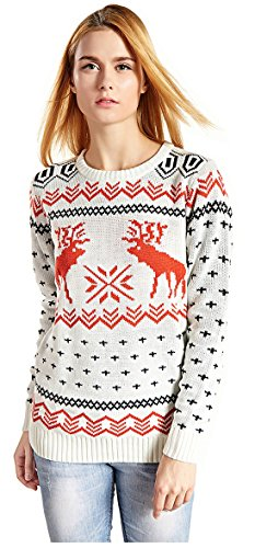 CHRISTMAS Sweater / Cardigan, with Various Lovely Patterns of Reindeer / Snowman / Snowflakes / Tree (XL, Deer&Snowflake-White) ()