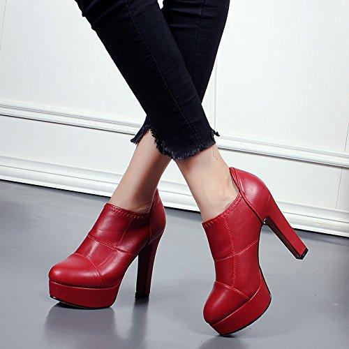 KHSKX Bottes 11Cm Nu Confortable De Chaussures Cycle Et red Martin Imperméables Bottes Nouveau Bottes Le 38 Manche Et Brut SwgSpr