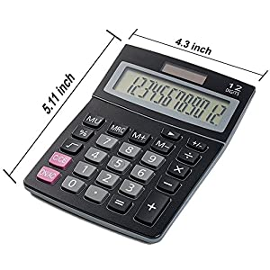 Bulk Digital Calculators Solar Powered Desktop Big Screen Basic Calculator With Electronic Number 12 Digit Display Black (6-Pack) - Colors May Vary