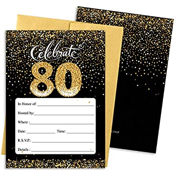 DISTINCTIVS 80th Birthday Party Invitation Cards With Envelopes 25 Count Black And Gold