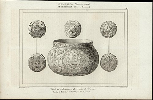 (Vessel Coins Time of Canuto Pottery Money 1844 antique engraved print)