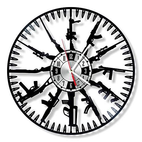 NiceIdeas4Home WEAPON wall clock made from vintage vinyl record wonderful handmade gift for your loved one