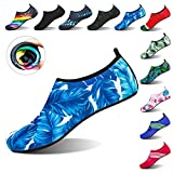 DKRUCAK Womens and Mens Water Shoes Barefoot Quick-Dry Aqua Yoga Socks for Beach Swim Surf Exercise (US Women 7.5-8/Men 6.5-7=EUR 39-40, Yezi bluewhite)