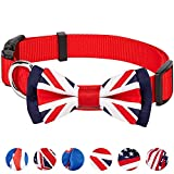Blueberry Pet 6 Designs Pack of 1 National Pride Handmade UK Flag w/Jacquard Weave Fabric Detachable Bow Tie Dog Collar in Red, Small, Neck 12''-16'', Adjustable Collars for Dogs