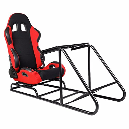 Price comparison product image BLACK / RED Gaming Racing Seat Steering Wheel Stand Pedal Gear Shifter Mount Cockpit Simulator For Fanatec / Thrustmaster / Logitech G25 G27 G29 G920