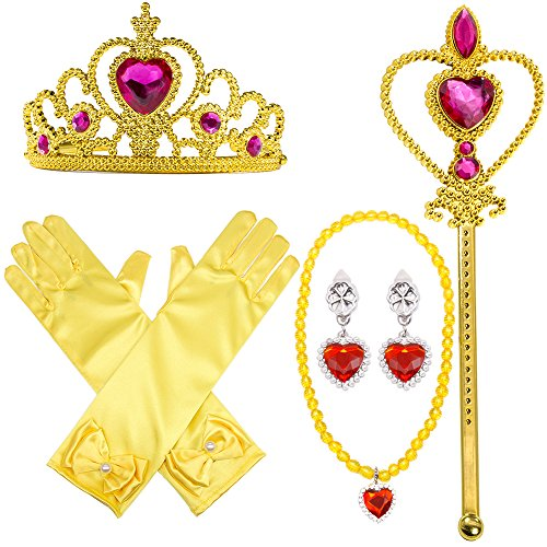 Yellow Dress Up Party Costume Accessories 4Pieces Gift Set For Princess Belle cosplay: Tiara, Wand and Gloves(Yellow)