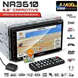Nakamichi NA3610 6.8 inch Touchscreen GPS Navigation CD DVD Bluetooth Double-Din in-Dash WVGA Display Multimedia 2A Fast Charging USB MP3 Spotify Pandora AM FM Radio 4V RCA Outputs Car Stereo Receiver
