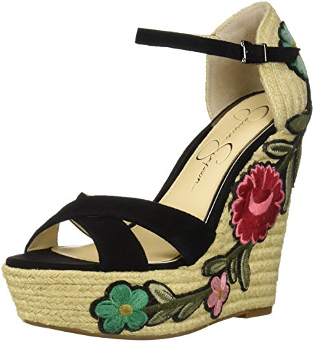 Embroidered Wedge - Jessica Simpson Women's APELLA Wedge Sandal, Black Suede, 10 Medium US