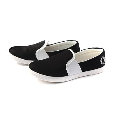 Easy Go Shopping Gemütlich Frauen Casual Flache Ballettschuhe Slip-on Loafers Mädchen Leinwand Low Top (Color : White, Size : 36 EU)