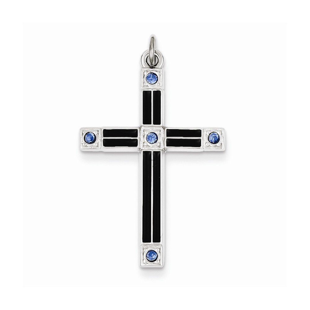 Sterling Silver Enameled /& Blue Cz Cross Pendant Best Quality Free Gift Box