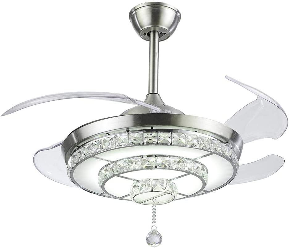 WHYING 42 Crystal Ceiling Fan Light and Remote Silver Stainless Steel Motor Remote Control LED Bright Chandelier with Retractable Invisible for Living room Bedroom Dining room