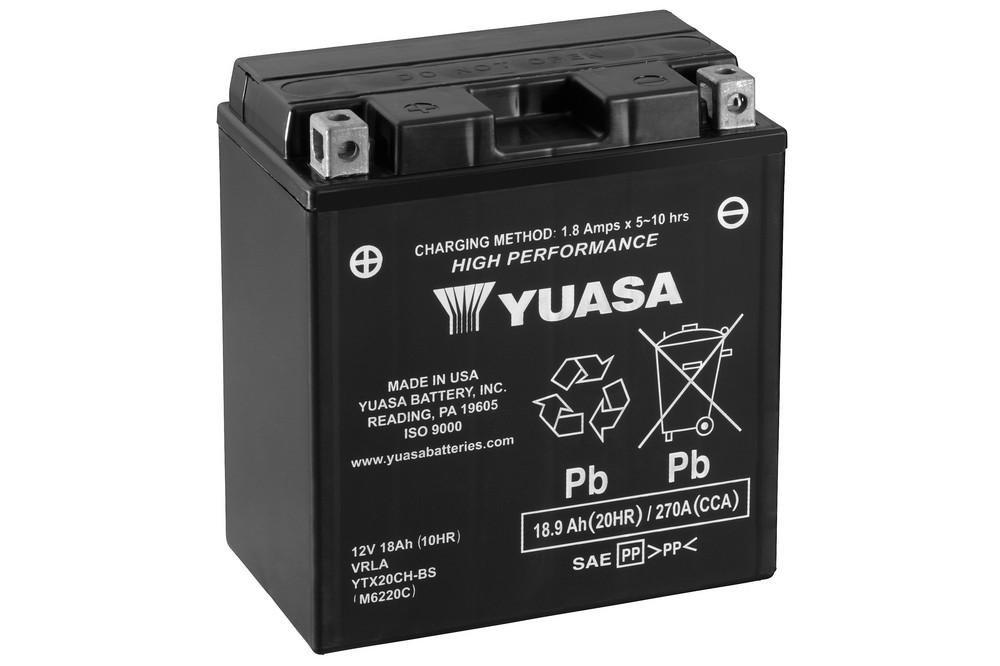 Batterie YUASA YTX20CH-BS, 12V/18AH (Maß e: 150x87x161) fü r Suzuki LT-A 750 X King Quad Baujahr 2013