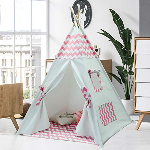 Kids Teepee Tent for Kids Girls Tee Pee Kids Tent with Teepee Stabilizer Children Teepee Play Tent for Girls Indoor Outdoor Play House Tent White Canvas Teepee Tent Pink Tee Pee (Pink Chevron Teepee)]()
