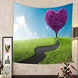 Keshia Dwete Custom tapestry heart shape tree in lavender meadow for love symbol