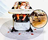 """Finally, Relaxing Baby Meal Times! 50"""" Food Mat for Baby, Baby Splat Mat for Under High Chair, Easy Clean Up Floor Protector Keeps Dining Area Clean! Great addition to Your Baby Travel System"""
