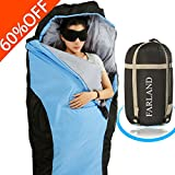 sleeping bag - FARLAND Lightweight Sleeping Bag& Portable Waterproof Mummy Bag With Compression Sack -Perfect for Summer Traveling, Camping, Hiking,Outdoor Activities (Sky Blue & Black / Left Zip)