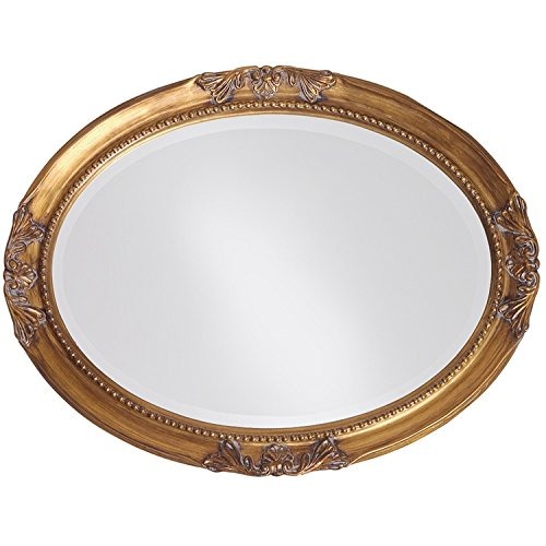Howard Elliott Queen Ann Mirror, Hanging Beveled Oval Wall Mirror, Antique Gold Leaf