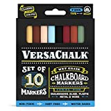 Chalkboard Chalk Markers by VersaChalk - Classic Colors (10-Pack) | Dust Free, Water-Based, Non-Toxic | Wet Erase Chalk Ink Pens (Fine 3mm)