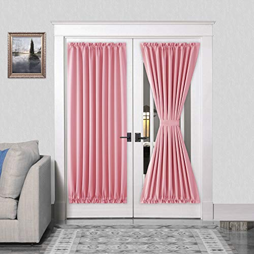 (DWCN French Door Curtains - Rod Pocket Thermal Blackout Curtain for Doors with Glass Window, Kitchen and Patio Doors for Privacy, 54 X 72 Inches Long, 1 Curtain Panel with Tieback, Pink)