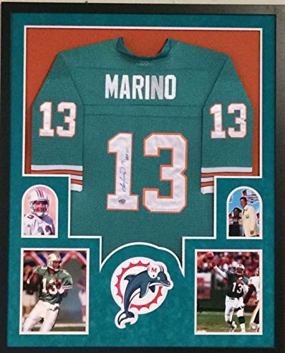 FRAMED DAN MARINO AUTOGRAPHED SIGNED INSCRIBE MIAMI DOLPHINS JERSEY FANATICS COA Dan Marino Autographed Dolphins
