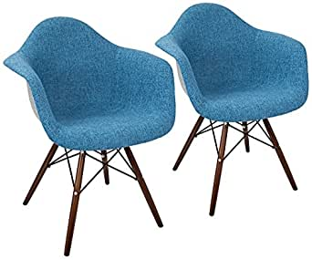 Neo Flair Duo Blue and Gray Fabric Dining Chair Set of 2