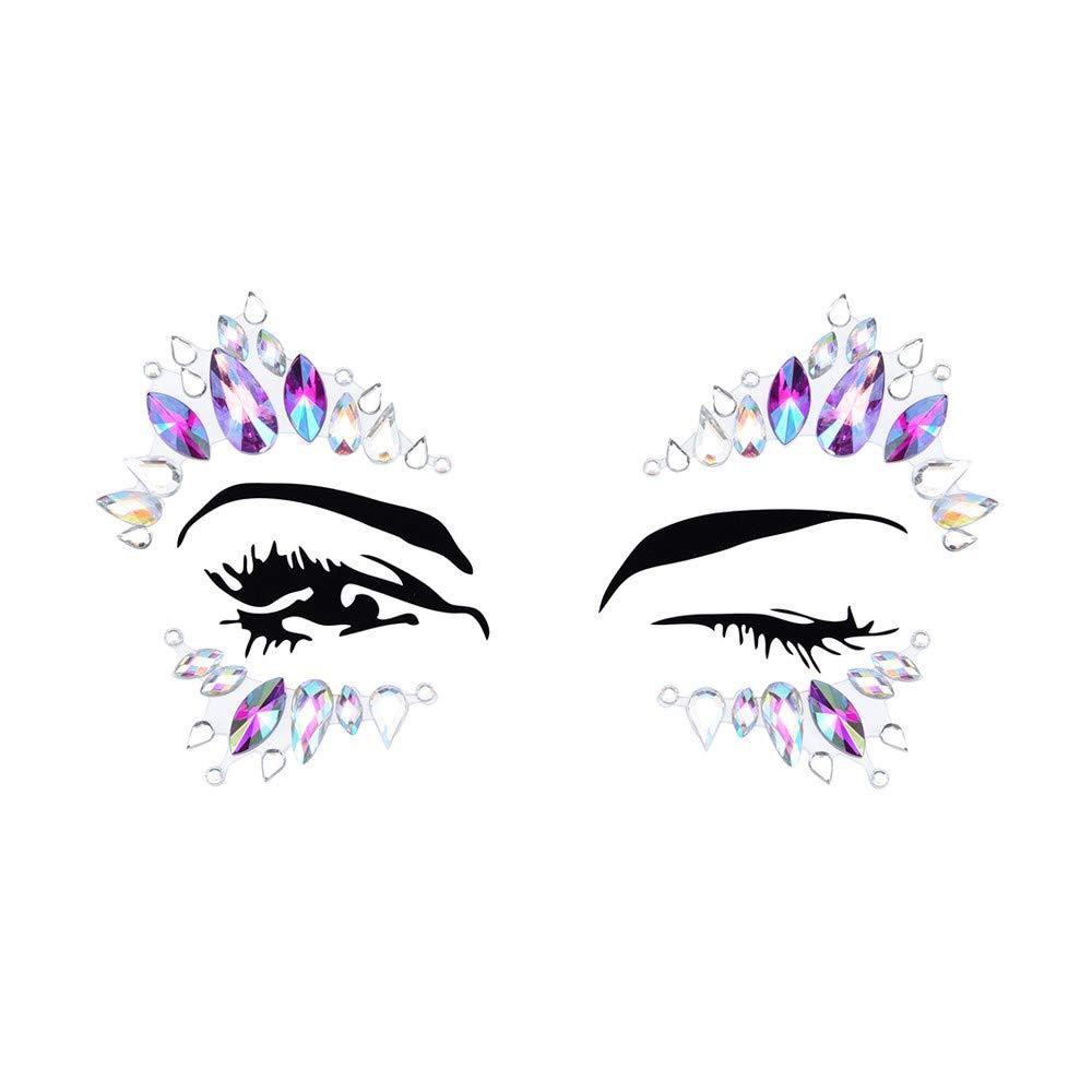 Inverlee 1 Sheet Facial Gems Adhesive Glitter Jewel Tattoos Stickers Wedding Festival Party Body Makeup (B5)