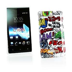 Kit Me Out ES ® Funda de gel TPU + Cargador para coche + Protector de pantalla con gamuza de microfibra para Sony Xperia E - Multicolor / Blanco Onomatopeyas de cómic