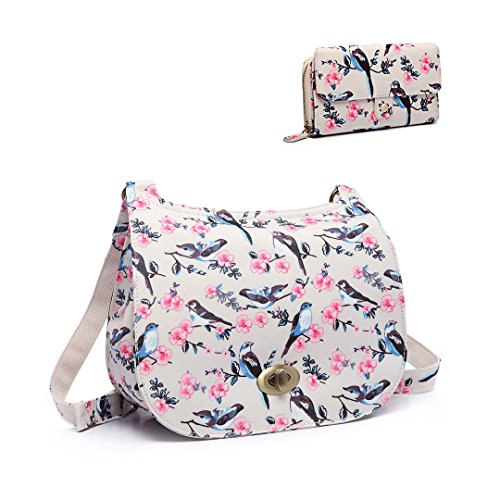 Miss Lulu Ladies Bird Flower Oilcloth Cross Body Messegner Satchel Bag Saddle Handbag Matching Purse 6640-16 Bird Satchel +6682 Bird Purse Beige