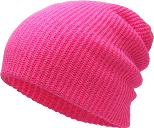 (KBETHOS Comfortbale Soft Slouchy Beanie Collection Winter Ski Baggy Hat Unisex Various Styles (One Size Fits Most, Solid Slouch Baggy Hot Pink))
