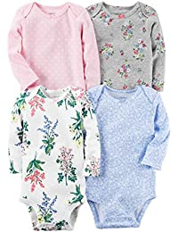 William Carter Baby Girl 4 Pack Long Sleeve Bodysuits...