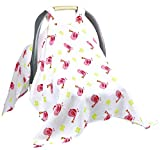 Baby Car Seat Covers To Protect From Bugs & Dust. XL Soft Muslin Cotton Car Seat Canopy For Baby Shower Gifts For Newborn Infant Girls.