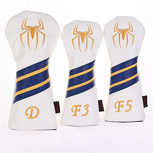 Volf Golf Spiderman Golf Woods Club Headcover Leather Golf Driver Fairway Woods Headcover (Yellow) -