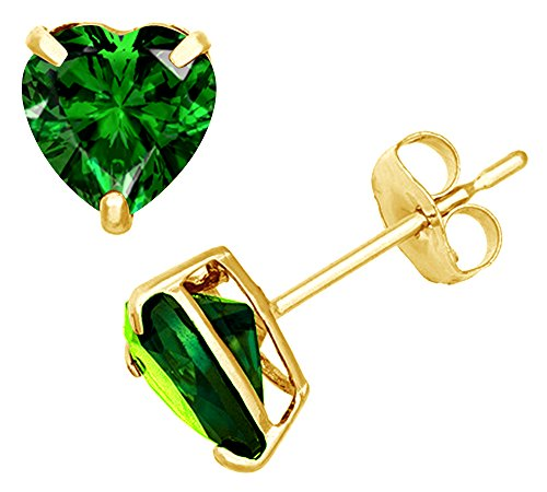 (Simulated Green Emerald Heart Shape Stud Earrings In 14K Yellow Gold Over Sterling Silver (2 Ct))