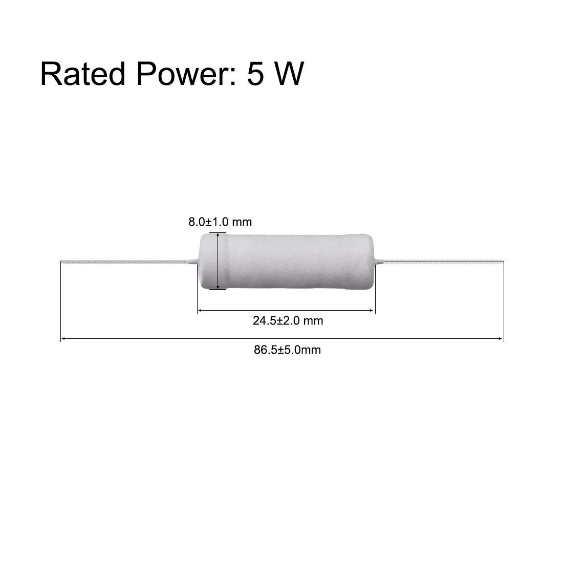 60 Pcs 5W Metal Oxide Film Resistor 270R,300R,330R,390R,470R,510R Ohm ±5/%