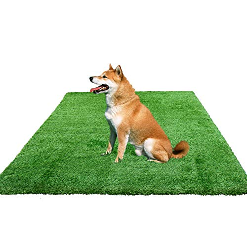 kaizein 7FT X 13FT Artificial Grass, Fake Grass Mat with Drainage Holes/70 oz/Yard 4-Tone 1.38-inch Blade Height, Outdoor Turf Rug,Artificial Grass Mat, Fake Turf for Deco Indoor/Outdoor - Rug Deco